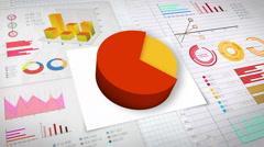 70 percent Pie chart with various economic finances graph.(no text) Stock Footage