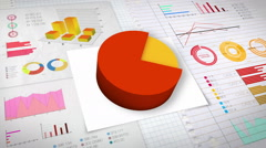 80 percent Pie chart with various economic finances graph.(no text) - stock footage