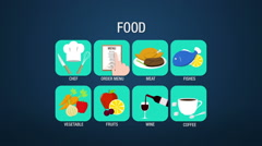 Food icon set animation (included Alpha) Stock Footage