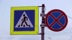 Traffic sign ,pedestrian crossing Stock Footage