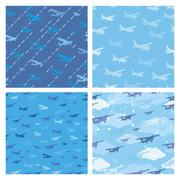 Seamless patterns with planes Stock Illustration