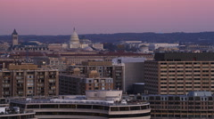 Flying by the Watergate Complex and Foggy Bottom with Capitol Building and Old Stock Footage