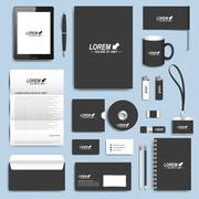 Black set of vector corporate identity templates. Modern business stationery Stock Illustration