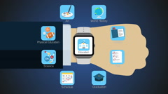 Education application function for smart watch,mobile watch(included alpha) Stock Footage