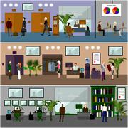 Flat design of business people or office workers. Business presentation and Stock Illustration