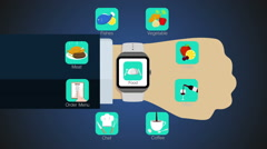 Food application function for smart watch,mobile watch(included alpha) Stock Footage