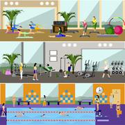 Horizontal vector banners with gym interiors. Sport activities concept. Yoga - stock illustration