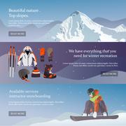 Vector set of Ski and Snowboard equipment banners. Winter sports design elements Stock Illustration