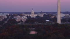 Flying toward and over National Mall from Constitution Avenue, past Constitution Stock Footage