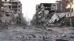Syria Pan Dolly shot aftermath destroyed city - 4k Stock Footage