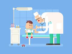 Doctor doing child vaccination - stock illustration