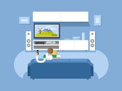 Stock Illustration of Interior home cinema