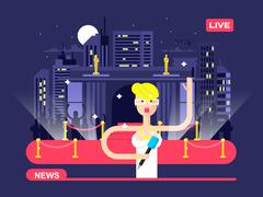 Live news reporter - stock illustration