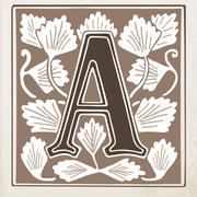letter A with leaves and frame - stock illustration