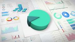 10 percent Pie chart with various economic finances graph version 2. Stock Footage
