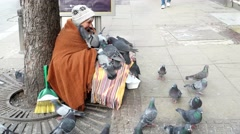 Old homeless woman sitting on a street surrounded by pigeons smiling and begging Stock Footage