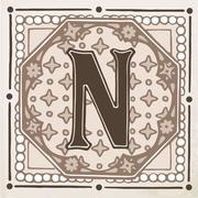 Letter N with leaves and frame Stock Illustration