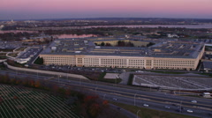 Flying along Washington Boulevard past the Pentagon with Potomac River and Stock Footage