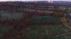 Flying over Arlington National Cemetery; city of Arlington, Virginia, in Stock Footage
