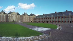 Camera pan on front square cour d'honneur Palace het Loo Paleis het Loo 4k - stock footage