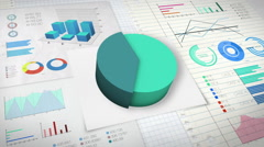 40 percent Pie chart with various economic finances graph version 2. Stock Footage