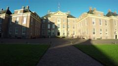 Moving towards main building Palace het Loo Paleis het Loo front 4k Stock Footage