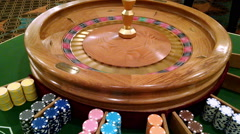 Roulette Wheel Bouncing Ball Gambling Chips Betting Gaming Casino Fun           Stock Footage