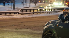 Stock Video Footage of Night winter traffic in the big city shallow depth of field