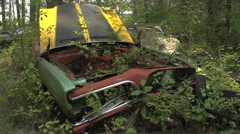 Auto junkyard forest, 1960s muscle car, pan Stock Footage
