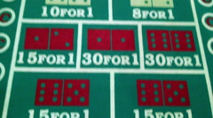 Craps Table Gambling Dice Chips Close Up Casino Betting Fun Exciting Luck Chance Stock Footage
