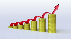 Pile up Golden coins and increase red arrow expressed growth profits - stock footage