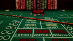 Craps Table Dice Gambling Chips Stacked Casino Fun Exciting Colorful Lucky Money Stock Footage