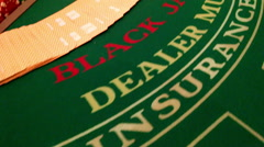 Black Jack Table Gambling Chips Cards Casino Fun Exciting Betting Lucky Dealer Stock Footage