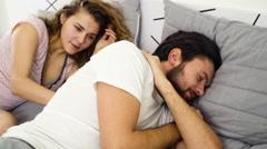 Stock Video Footage of funny couple awakening slow motion