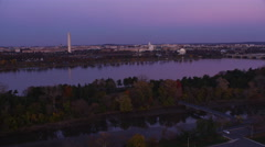 Approaching over the Potomac River toward the Tidal Basin at dusk, Jefferson - stock footage
