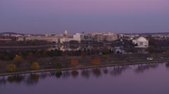 Approaching over the Potomac River toward the Tidal Basin and Jefferson Memorial - stock footage