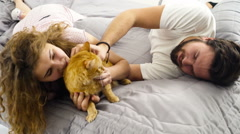 Couple in bed caressing a ginger cat slow motion Stock Footage