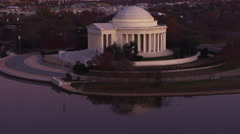 Approaching and partially orbiting the Jefferson Memorial at dusk. Shot in 2011. Stock Footage