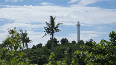 Lighthouse and tropical palms.Malapascua Island Stock Footage