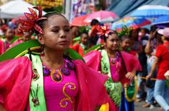 Stock Photo of Fuschia Street Cultural Dancing Frenzy