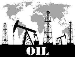 Silhouette of oil derrick Piirros