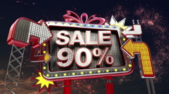 Sale sign '90 percents' in led light billboard promotion. - stock footage