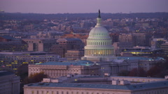 Capitol Hill from South Capitol Street at dusk, Washington DC. Shot in 2011. - stock footage