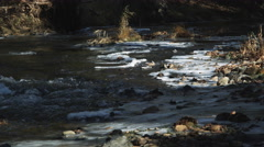Rapids at the edge of frozen shallows in a forest stream Stock Footage