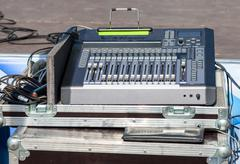 Audio sound mixer with buttons and sliders. Equipment for concerts Kuvituskuvat