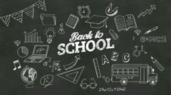 Handwriting concept of 'Back to school' at chalkboard. with various diagram. Stock Footage