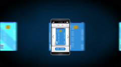 Credit card into smartphone, concept of mobile payment, Mobile credit card. - stock footage