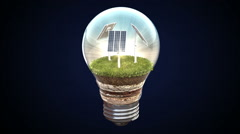 Solar energy makes the electric bulb, Eco-friendly energy. Stock Footage
