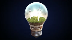 Wind energy makes the electric bulb, Eco-friendly energy Stock Footage
