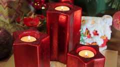 candles around the Christmas tree,gifts - stock footage
